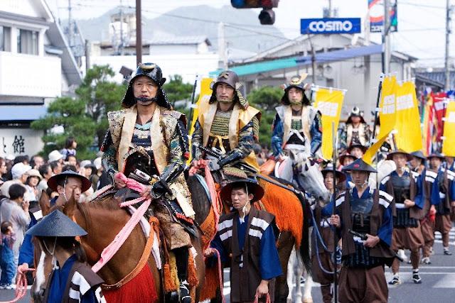 Matsue Musha Gyoretsu (parade of samurai) in Matsue City, Shimane