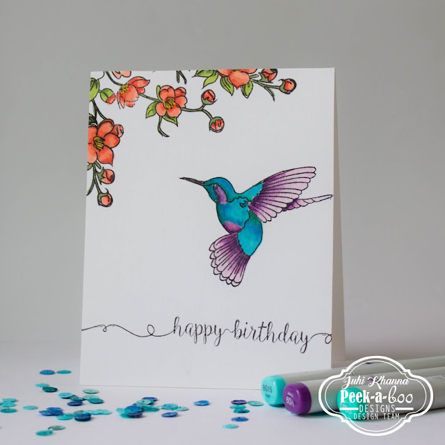 Peek-a-boo designs humming bird colored with copic markers