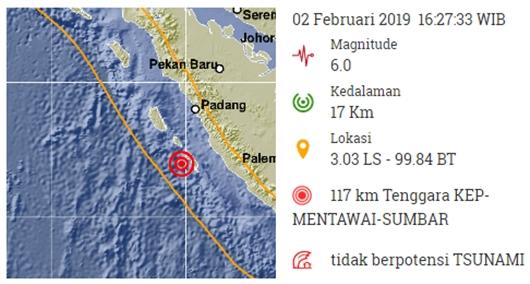 Gempa M 6.0 Terjadi di Mentawai, Tak Berpotensi Tsunami