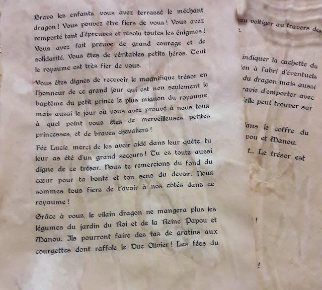 texte chasse au trésor parchemin histoire chateau dragon épreuves énigmes diplome facile
