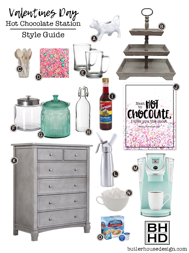 Heat things up (literally) this Valentines Day with these easy tips and tricks for styling a Hot Chocolate Station in your home for family and friends! | butlerhousedesign.com  my3monsters.com
