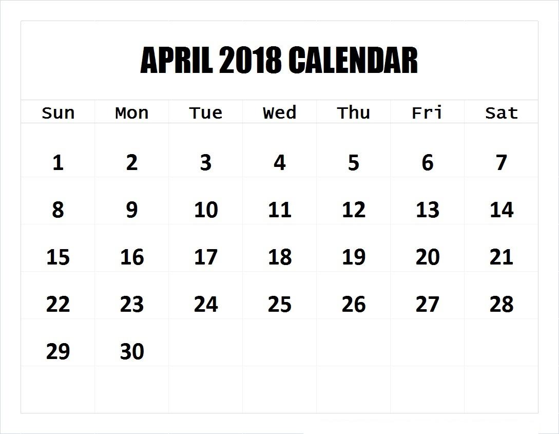 april printable calendar 2018