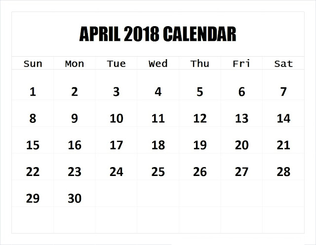 Blank Calendar for April 2018, 2018 April Printable Calendar, April 2018 Calendar Printable, April 2018 Blank Calendar, April 2018 Holiday Calendar,  April 2018 calendar