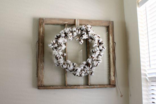 Antique Window Cotton Wreath Away She Went