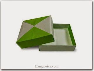 gấp, xếp hộp quà tặng hình vuông mỏng