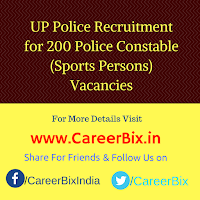 UP Police Recruitment for 200 Police Constable (Sports Persons) Vacancies
