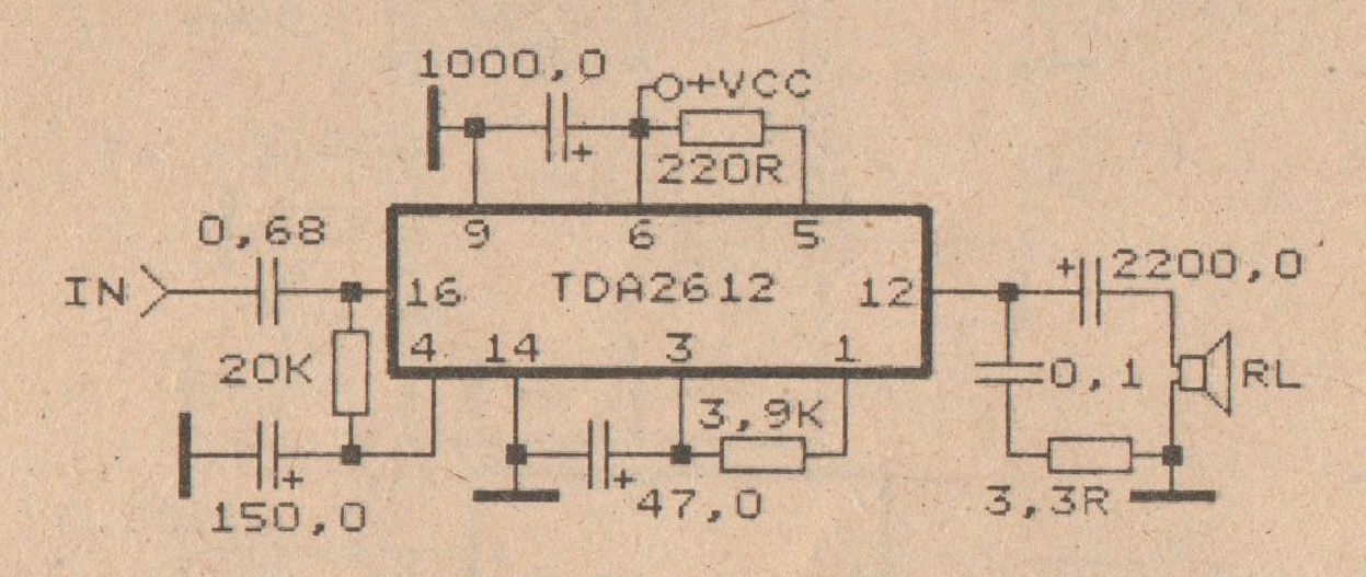 schematic audio power amplifier with ic tda2612 diy circuit rh avecircuits blogspot com