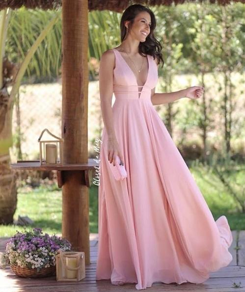 vestido rose  longo esvoaçante