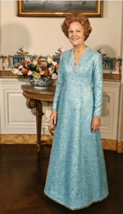 Blue Evening gown designed by Adele Simpson for Pat Nixon