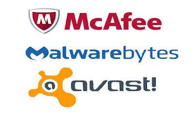Print com os logos de empresas de Anti-vírus e Anti-Malwares