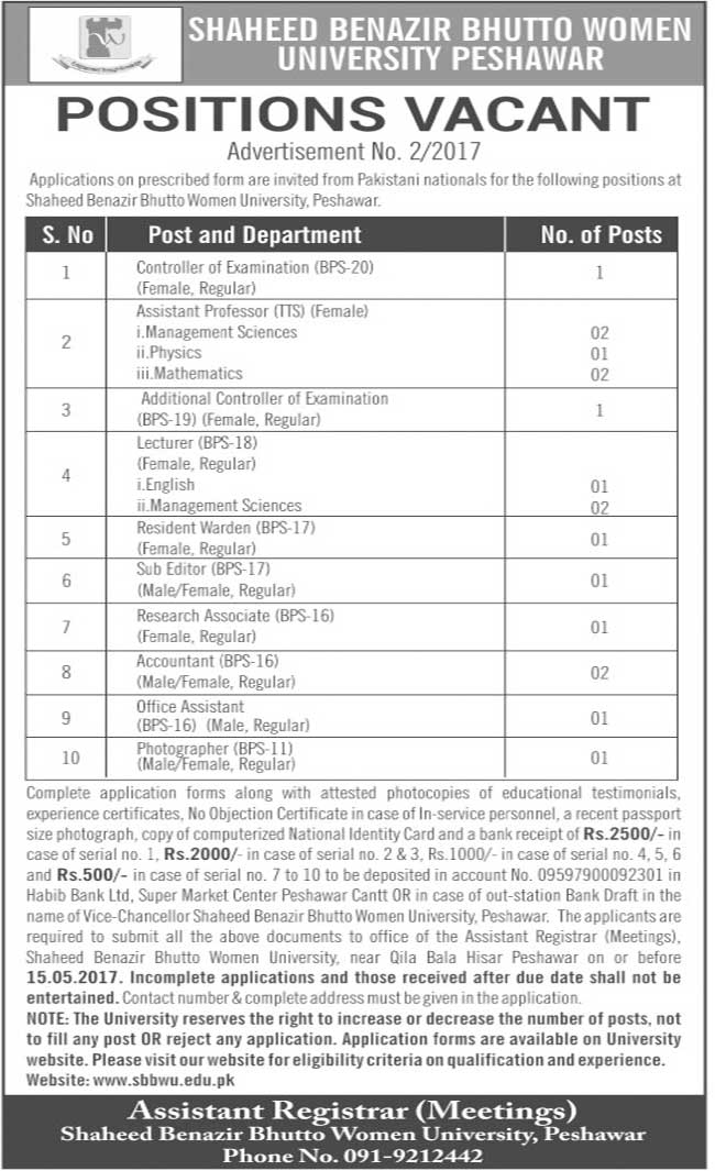 Shaheed Benazir Bhutto Women University Peshawar Jobs