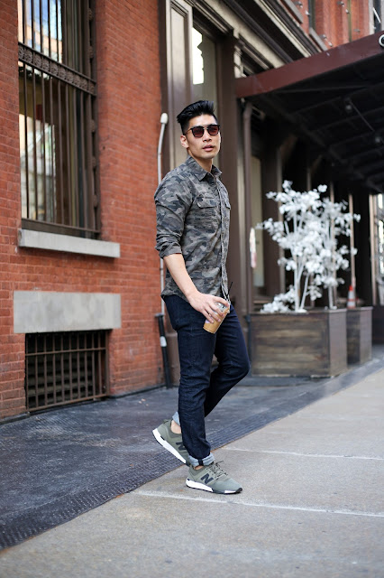 Leo Chan, Menswear Style wearing Hudson Jeans Denim Jeans and Came Shirt, A21 Necklace