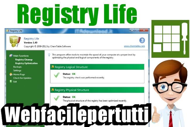Registry Life | Programma Gratuito Per Analizzare il Registro Di Windows e Rilevare e Riparare Gli Errori