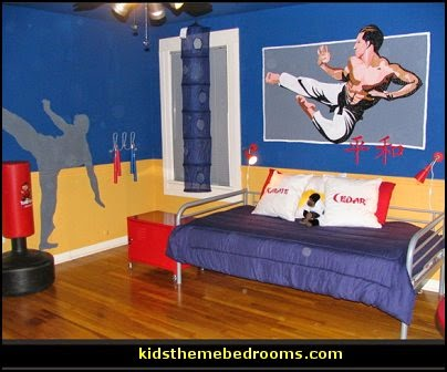 Karate Dojo  Sports Bedroom decorating ideas -  Wrestling theme bedroom decorating - boxing theme bedrooms - martial arts - skateboarding theme bedrooms  - football - baseball - basketball theme bedrooms - basketball bedding - golf theme bedrooms - hockey bedding - theme beds sports