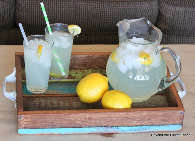 serve lemonade on a lovely reclaimed barn wood tray