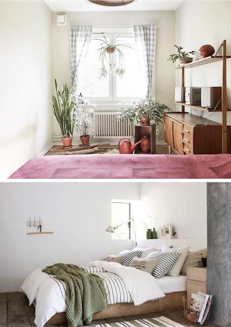 ideas para decorar con cojines en la recamara, ideas para decorar con plantas en la recamara