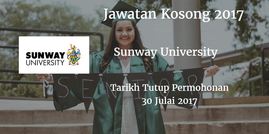 Jawatan Kosong Sunway University 30 Julai 2017