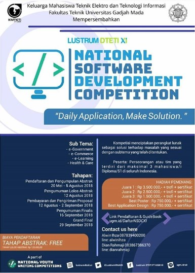 National Software Development Competition 2018 Mahasiswa di UGM
