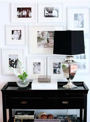 aparador e composição de quadros