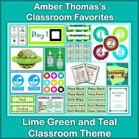 http://www.teacherspayteachers.com/Product/Classroom-Theme-Lime-Green-Teal-and-Aqua-Spots-and-Stripes-740364