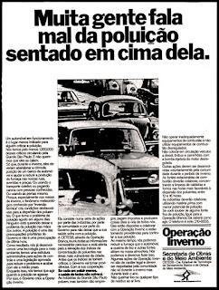 poluição em São Paulo anos 70;  1976. brazilian advertising cars in the 70. os anos 70. história da década de 70; Brazil in the 70s; propaganda carros anos 70; Oswaldo Hernandez;