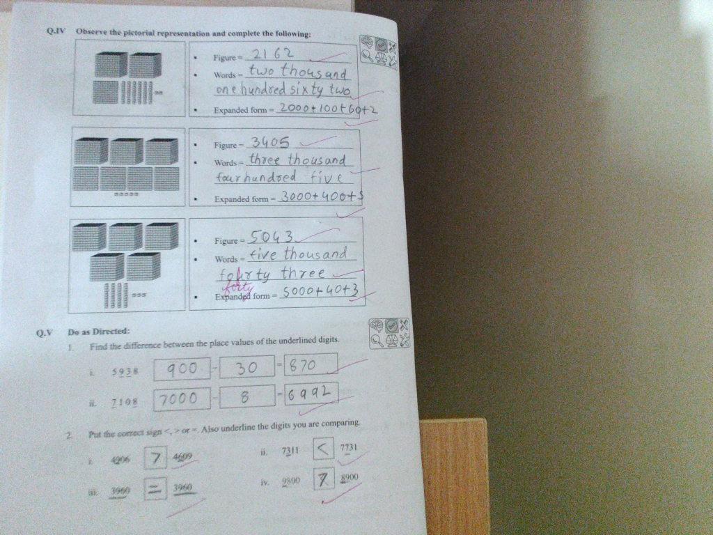 PIS VADODARA STD 3: Maths Work sheet ch-Numbers