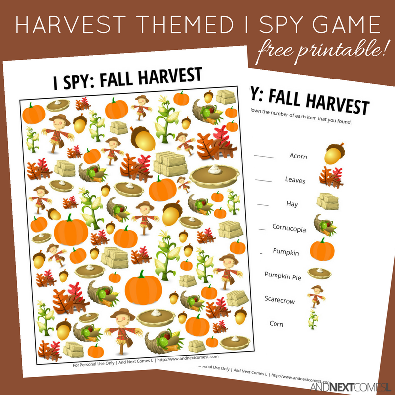 photo regarding Printable Fall Pictures known as Drop Harvest Themed I Spy Recreation Totally free Printable for Young children