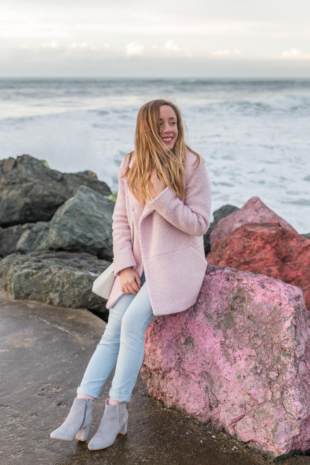 blog mode tenue du jour manteau rose