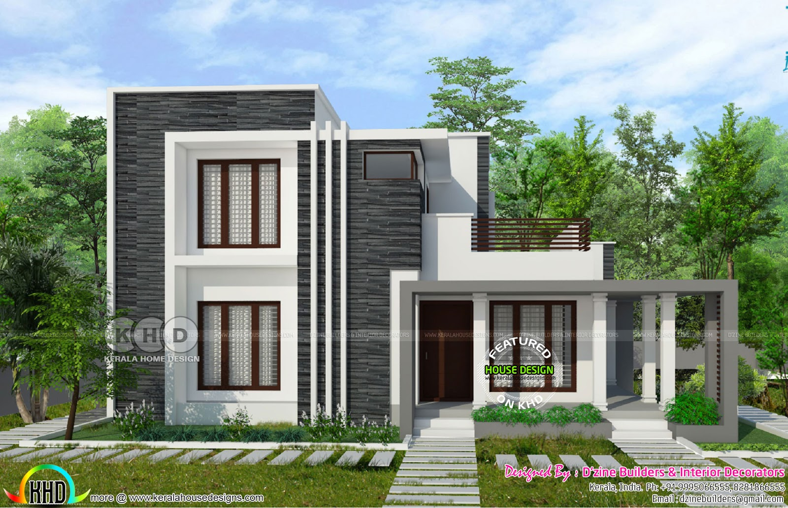 Front Elevation Bedrooms : Square feet bedroom flat roof modern home kerala