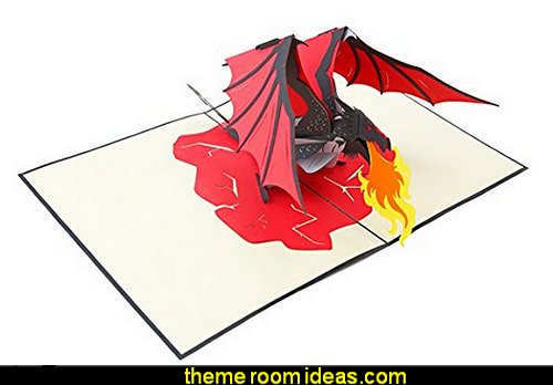 Fire Breathing Dragon 3D Pop Up Greeting Card  medieval knights party props - castle theme party decorations - Medieval theme party decorating - Castle party props - princess party props - knight and princess costumes - Princess & Knight party ideas - Medieval wall decorating kit - harry potter party supplies - Medieval Birthday Party