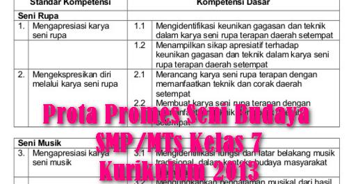 Prota Promes Seni Budaya Smp Mts Kelas 7 Kurikulum 2013 Beranda Pendidik