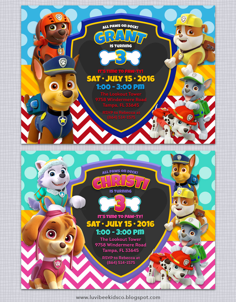 Sweet image within free printable paw patrol invitations