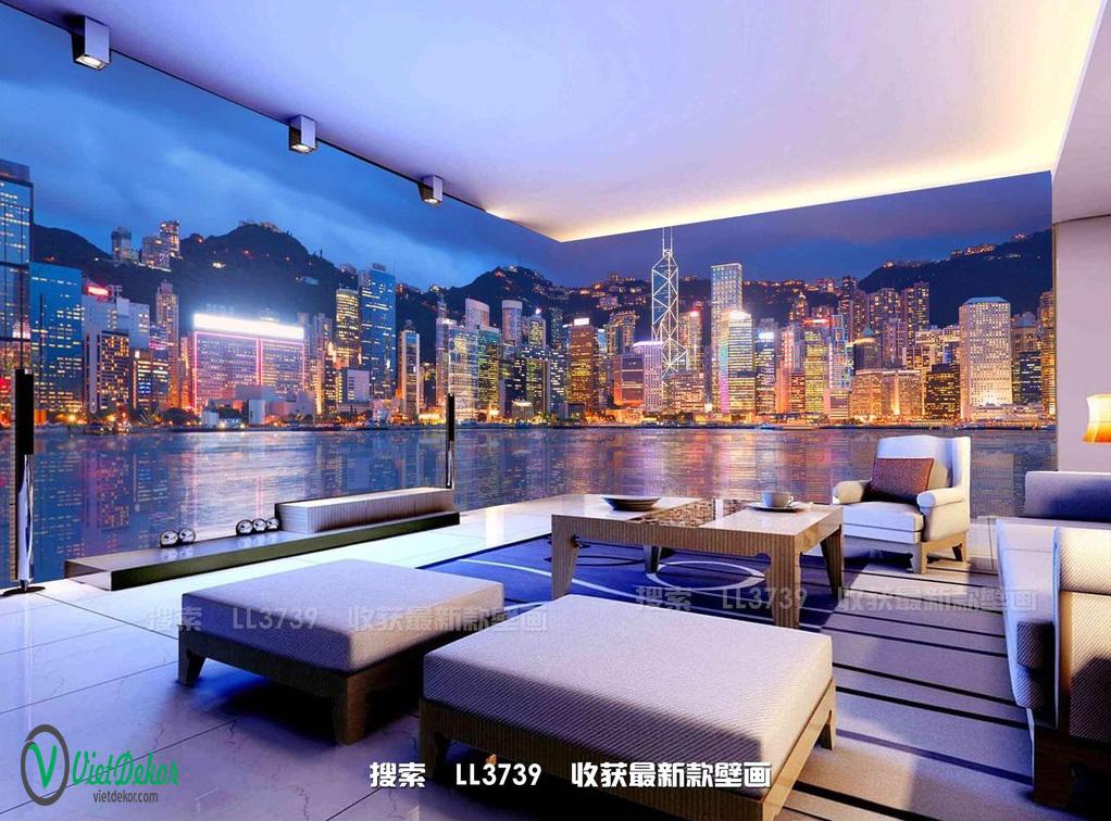 Tranh dán tường 3d phong cảnh phòng khách đẹp
