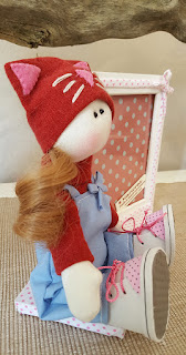 Portafoto bambola tessuto tilda