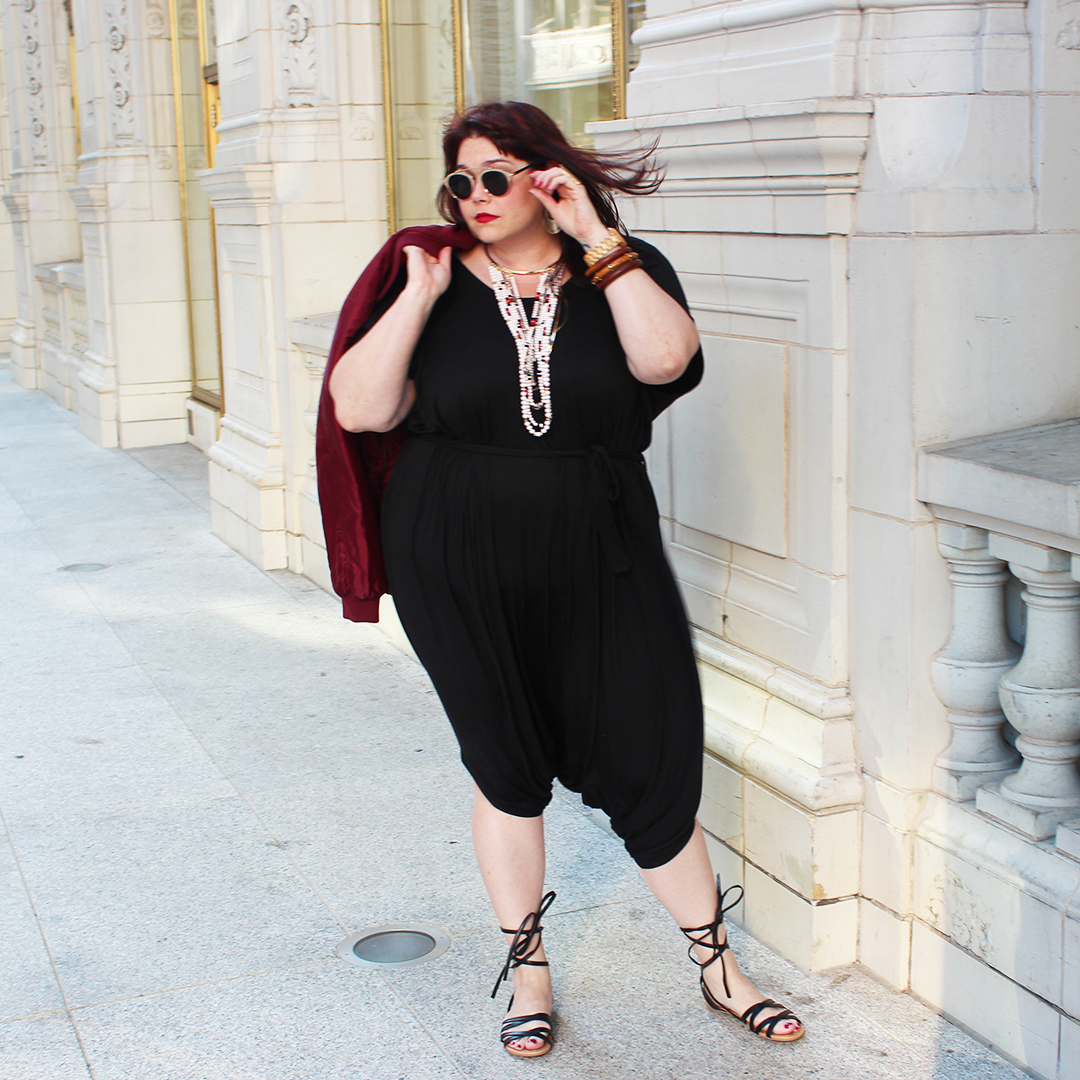 b90a2c052cfb Chicago Plus Size Blogger Amber from Style Plus Curves in a Harem Jumpsuit  and Plus Size
