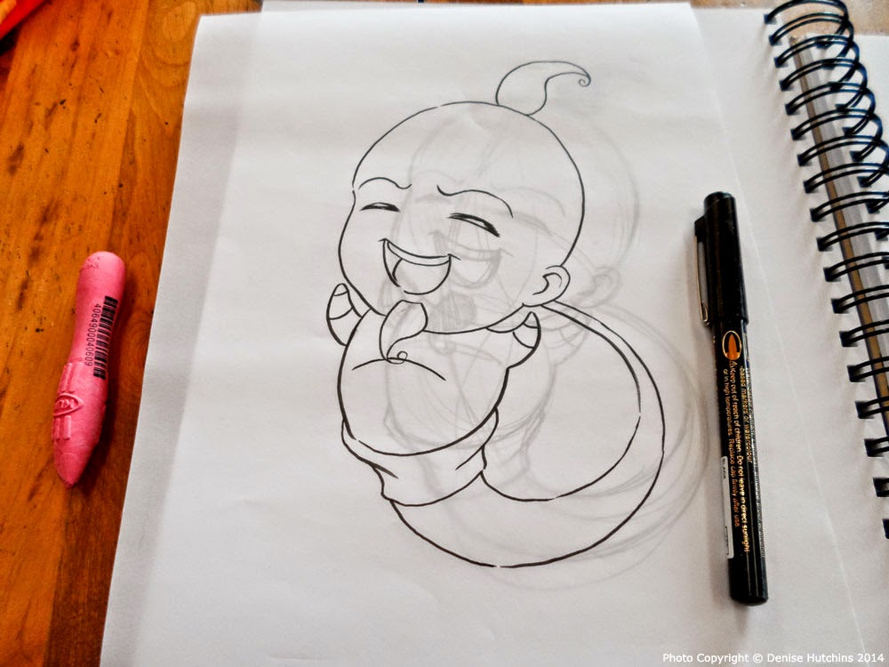 Chibi Genie Drawing Inked on Clear Paper