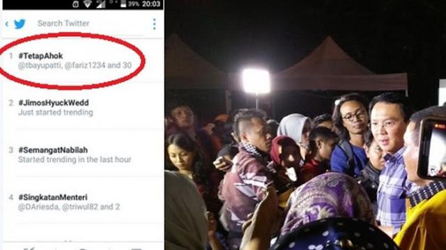 Hastag #TetapAhok Menjadi Trending Topic Setelah Ahok Memutuskan Maju Jalur Parpol