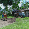 Anggota Satgas TMMD ke 104 Kodim 0417 /Kerinci membersikan kandang dan kotoran ternak warga