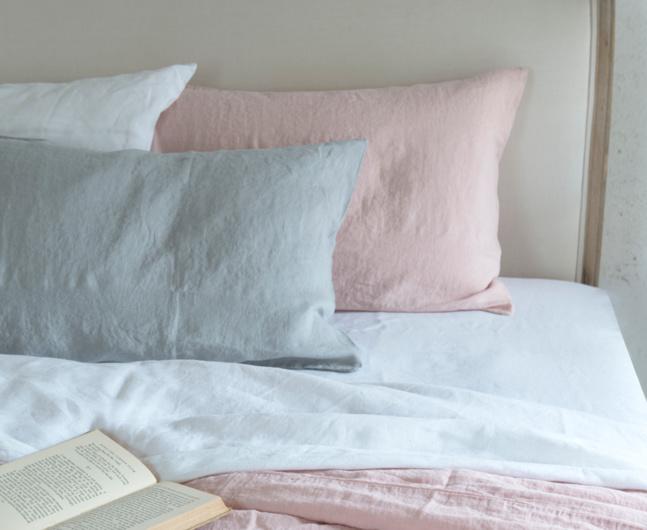 pastel pink blue bed linen