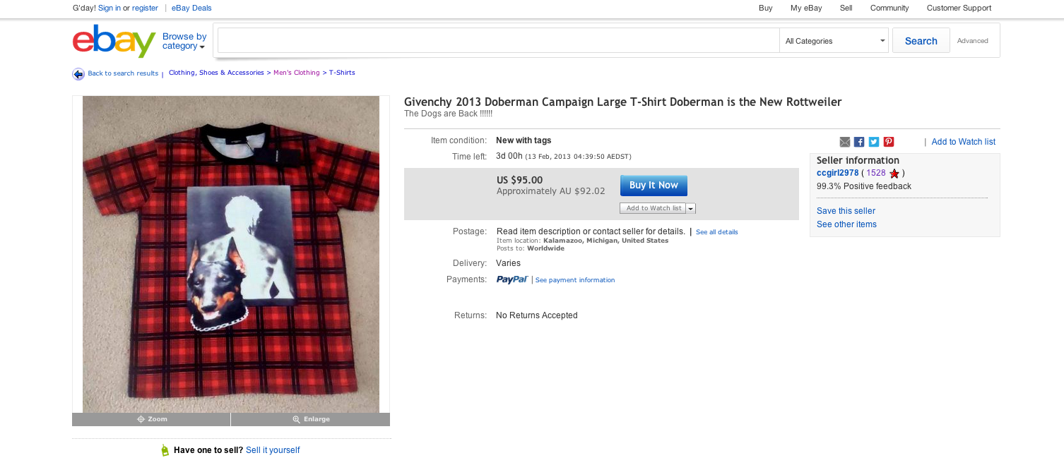 3db6b15b647d You will probably notice that on eBay there are a number of unreleased  Givenchy merchandise from Spring Summer 2013 and Pre-Fall Winter 2013  collection.