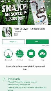 gambar aplikasi Ular di layar HP