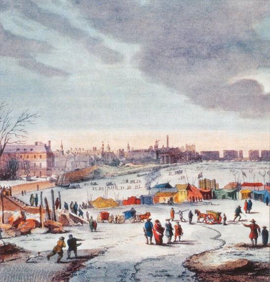 Drawing of the Thames Frost Fair, 1683–84, by Thomas Wyke (Wikipedia)