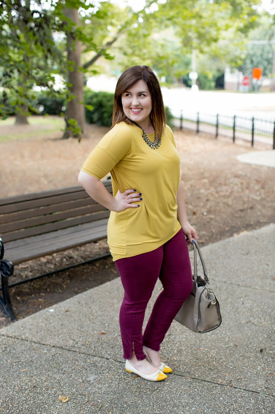 Rebecca Lately Lularoe Mustard Irma Pistola Jeans Stitch Fix Rockport Flats Urban Expressions Grey Bag