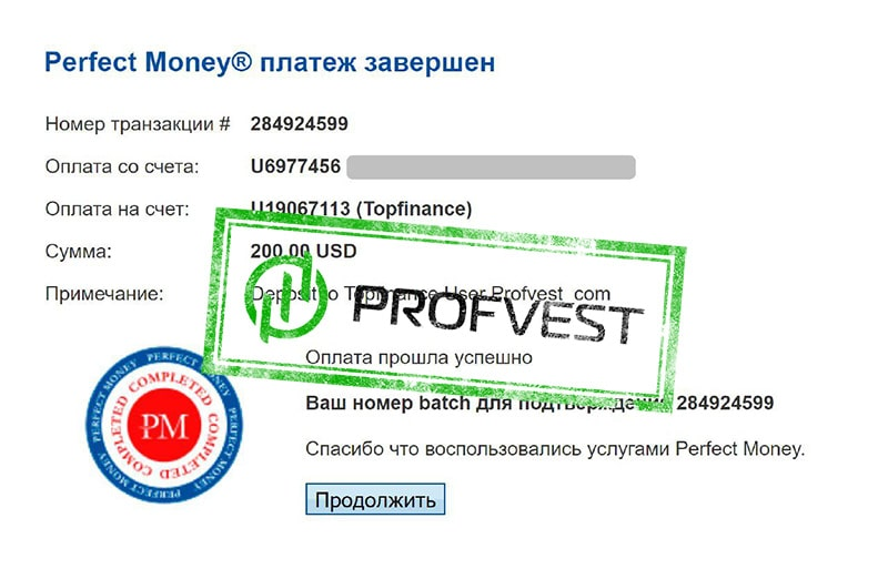 Депозит в Topfinance