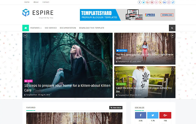 Espire Responsive Magazine Personal Blog Blogger Template Theme
