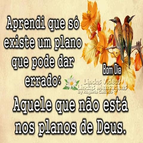 Aprendi que só existe   um plano que pode dar errado:  Aquele que não está  nos planos de Deus.  Bom Dia!