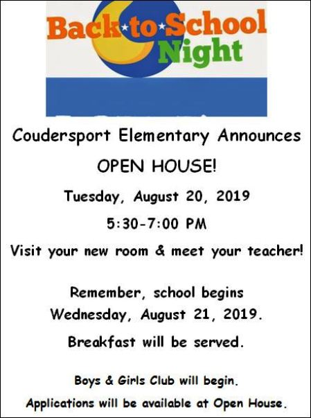8-20 Open House, Coudersport Elementary School