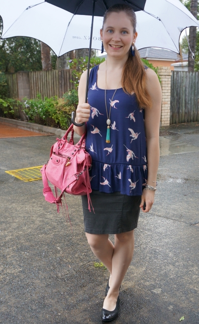 spring rainy day peplum tank pencil skirt pink balenciaga city bag office outfit | awayfromblue