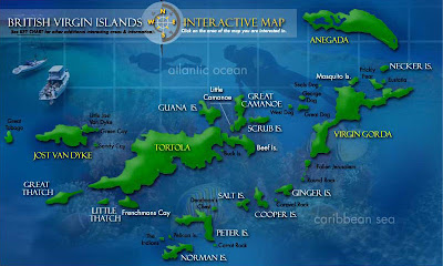 Carte iles vierges britanniques :  Tortola, Virgin Gorda, Jost Van Dyke...