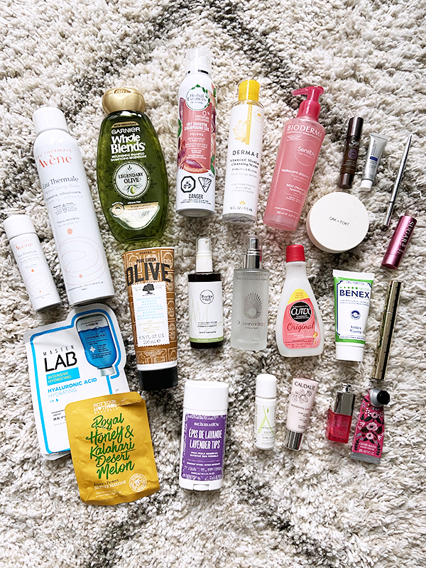 24 empty beauty products featuring makeup, hair care, body care, and skin care from drugstore, natural, and department store/luxury brands